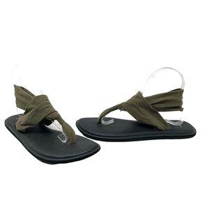Sanuk Yoga Flip Flops Olive Green Size 9
